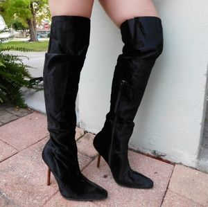 Colin Stuart Sexy Black Velvet Over the Knee Boots